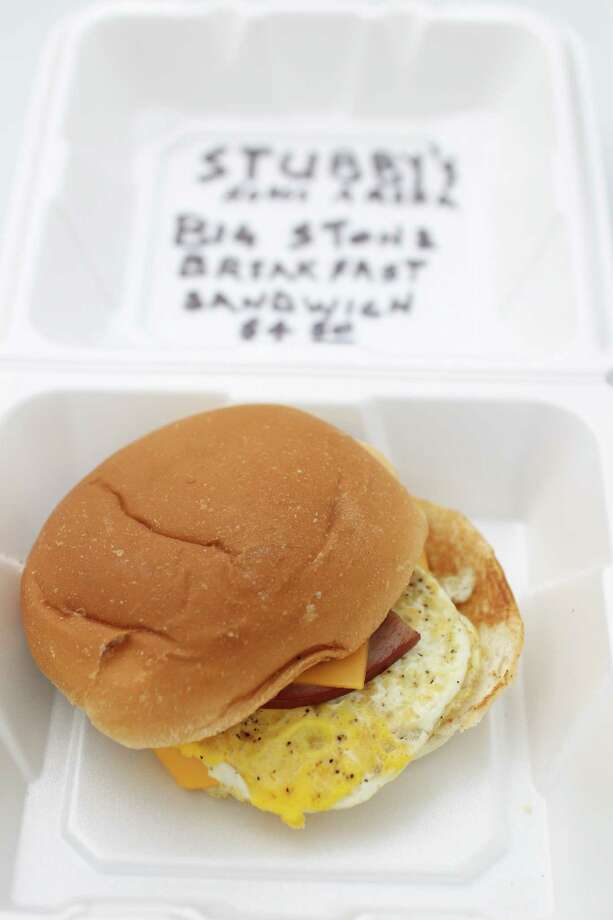 Stubby's Big Stone Breakfast Sandwich on display during the annual Golden Buckle Foodie Awards at the Houston Livestock Show and Rodeo, Thursday, Feb. 28, 2013, in Houston. Photo: Karen Warren, Houston Chronicle / © 2013 Houston Chronicle