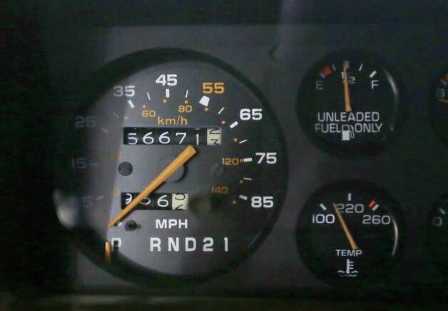 In a Jan. 22, 2013 photo, the speedometer of a 1984 Monte Carlo is seen at the GM Heritage Center in Sterling Heights, Mich. For years, most speedometers topped out at 120, a speed that many cars could come close to reaching, even though it was 50 mph over the limit in most states. Then, in 1980, Joan Claybrook, who ran the National Highway Traffic Safety Administration, limited speedometers to 85 mph, even though cars could go much faster. (AP Photo/Carlos Osorio) Photo: Carlos Osorio