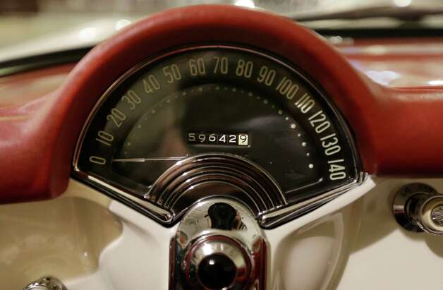 In a Jan. 22, 2013 photo, the speedometer of a 1953 Corvette is seen at the GM Heritage Center in Sterling Heights, Mich. Although current cars with high-horsepower engines can come close to the top speedometer speeds, most are limited by engine control computers. That's because the tires can overheat and fail at higher speeds. (AP Photo/Carlos Osorio) Photo: Carlos Osorio