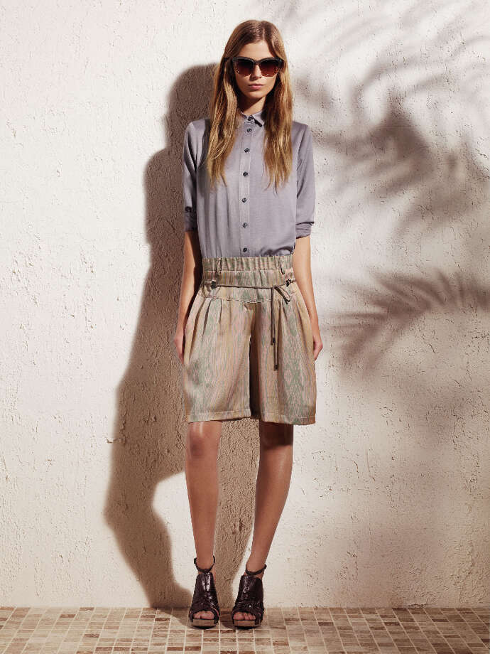 Classic button-down shirt ($48) with drawstring shorts ($48).