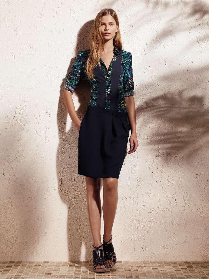 Button-down bib woven shirt ($48) and tucked skirt ($50).