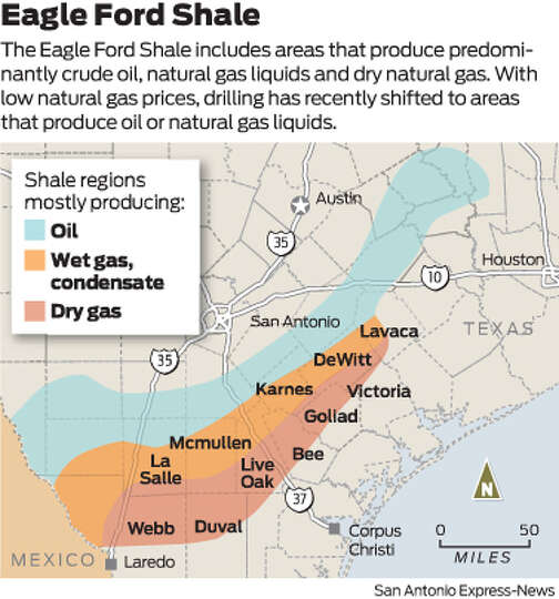 The Eagle Ford Shale includes areas that produce predominantly crude oil, natural gas li