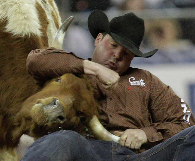 Sean Mulligan of Coleman, OK competes in steer wrestling during round 1 of the Super Series II  of R