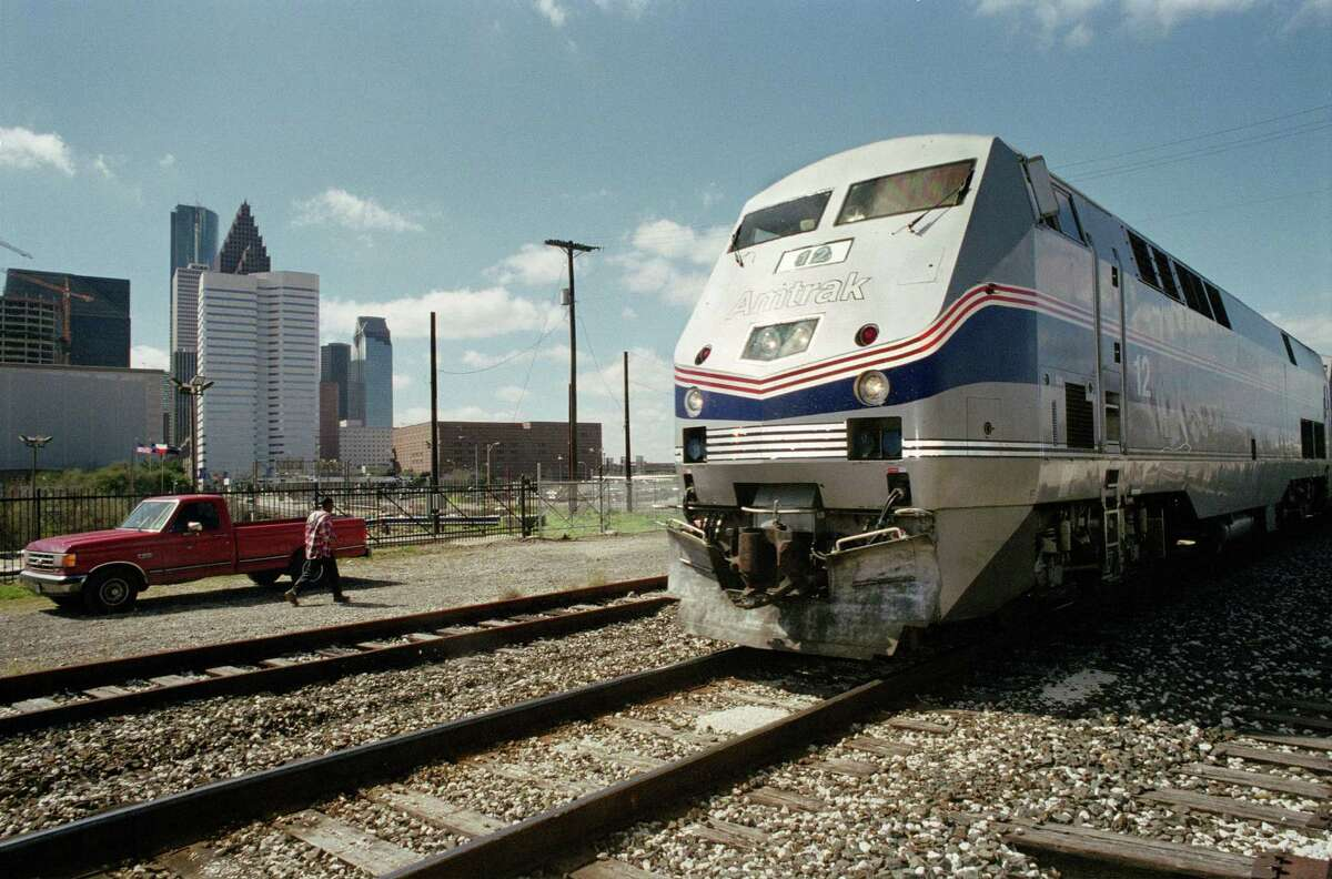 The Sunset Limited Amtrak train arrives in Houston in 2003.