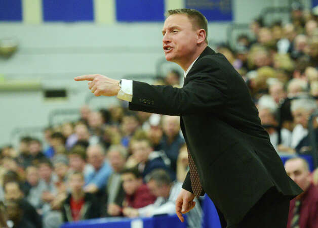 Bethel head coach Ray Turek gets vocal during Bunnell's 71-61 win in the SWC Boys Basketball Championship game at Bunnell High School in Stratford, Conn. Thursday, Feb. 28, 2013. Photo: Tyler Sizemore / The News-Times