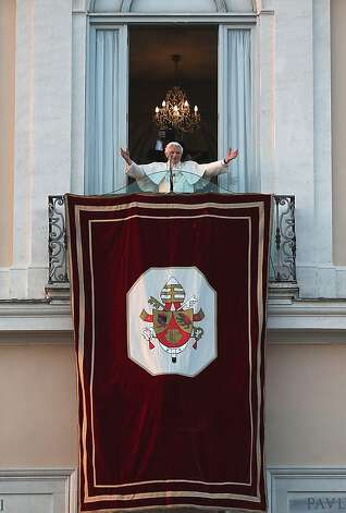 Pope Benedict XVI waves to pilgrims, for the last time as head of the Catholic Church, from the window of Castel Gandolfo where he will start his retirement today on February 28, 2013 in Rome, Italy. Pope Benedict XVI has been the leader of the Catholic Church for eight years and is the first Pope to retire since 1415. He will stay at the Papal Summer residence of Castel Gandolfo until renovations are complete at a monastery in the grounds of the Vatican and will be known as Roman Pope Emeritus. Photo: Christopher Furlong, Getty Images