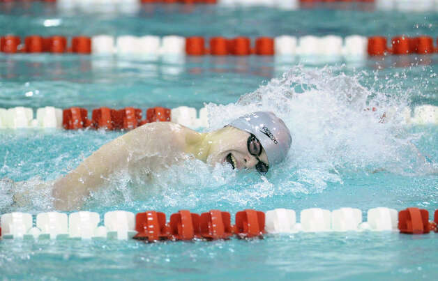 Oscar Ike of Westhill-Stamford during the 200 IM event that he won during the FCIAC Swimming championships at Greenwich High School, Thursday night, Feb. 28, 2013. Photo: Bob Luckey / Greenwich Time
