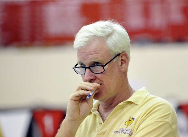 Westhill-Stamford swim coach Rick Lewis during the FCIAC Swimming championships at Greenwich High School, Thursday night, Feb. 28, 2013. Photo: Bob Luckey / Greenwich Time