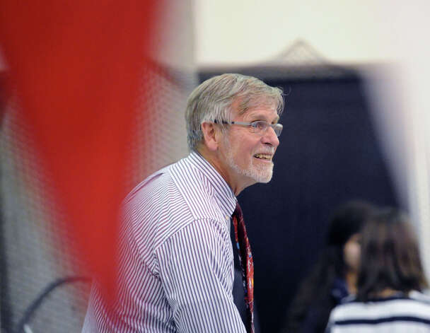 Greenwich swim coach Terry Lowe during the FCIAC Swimming championships at Greenwich High School, Thursday night, Feb. 28, 2013. Photo: Bob Luckey / Greenwich Time