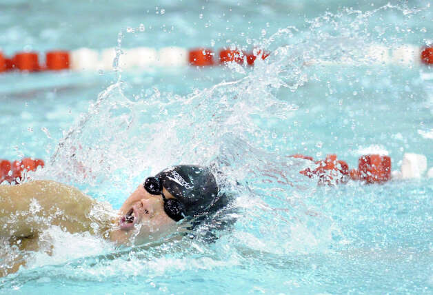 during the FCIAC Swimming championships at Greenwich High School, Thursday night, Feb. 28, 2013. Photo: Bob Luckey / Greenwich Time