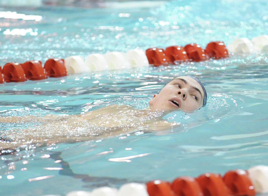 Jon Blansfield of Staples High School after setting a record in the 500 freestyle with a time of 4:35:98 during the FCIAC Swimming championships at Greenwich High School, Thursday night, Feb. 28, 2013. Photo: Bob Luckey / Greenwich Time