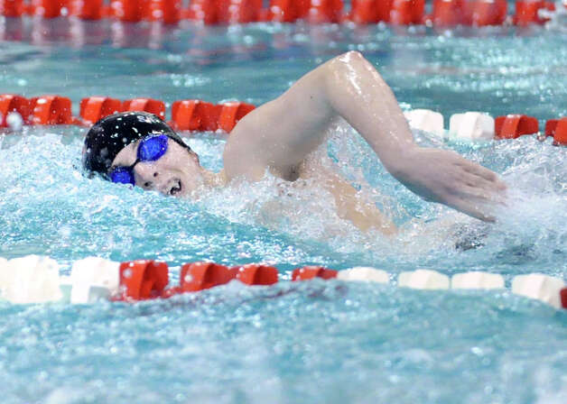 Stephen Skaperdas of New Canaan High School competes in the 200 freestyle during the FCIAC Swimming championships at Greenwich High School, Thursday night, Feb. 28, 2013. Photo: Bob Luckey / Greenwich Time