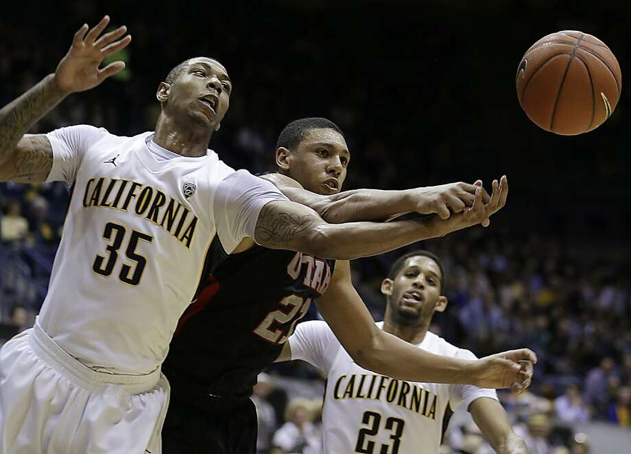 California's Richard Solomon (35) and Utah's Jordan Loveridge reach for a loose ball during the first half of an NCAA college basketball game on Thursday, Feb. 28, 2013, in Berkeley, Calif. (AP Photo/Ben Margot) Photo: Ben Margot, Associated Press