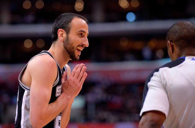 San Antonio Spurs guard Manu Ginobili, of Argentina, questions a call to referee Tony Brown during the second half of their NBA basketball game against the Los Angeles Clippers, Thursday, Feb. 21, 2013, in Los Angeles. Photo: Mark J. Terrill, Associated Press / AP