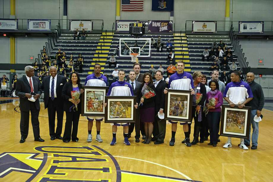 University at Albany, recognized four seniors (Jayson Guerrier, Jacob Iati, Blake Metcalf and Mike Black) at the beginning of the game against UNH Thursday Feb. 28, 2013, at SEFCU arena in Albany, N.Y.  (Eric Jenks/Special to the Times Union) Photo: Eric Jenks / All rights reserved Eric Jenks 2013 AWASOS.COM