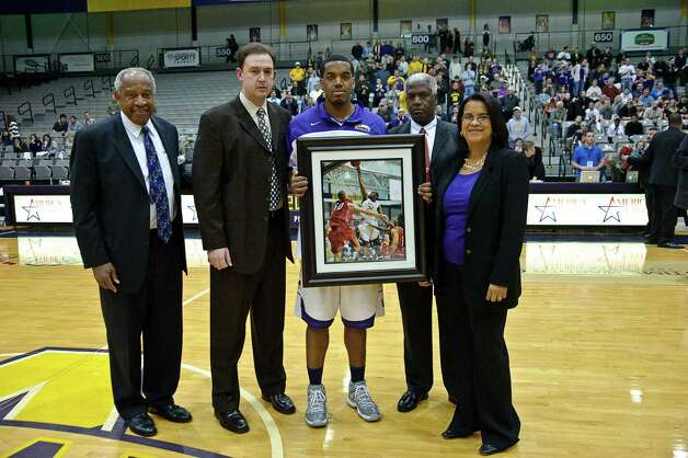 University at Albany recognizes senior Jayson Guerrier,  Thursday Feb. 28, 2013, at SEFCU arena in Albany, N.Y.  (Eric Jenks/Special to the Times Union) Photo: Eric Jenks / All rights reserved Eric Jenks 2012 AWASOS.COM
