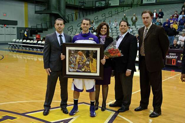 University at Albany recognizes senior Jacob Iati,  Thursday Feb. 28, 2013, at SEFCU arena in Albany, N.Y.  (Eric Jenks/Special to the Times Union) Photo: Eric Jenks / All rights reserved Eric Jenks 2012 AWASOS.COM