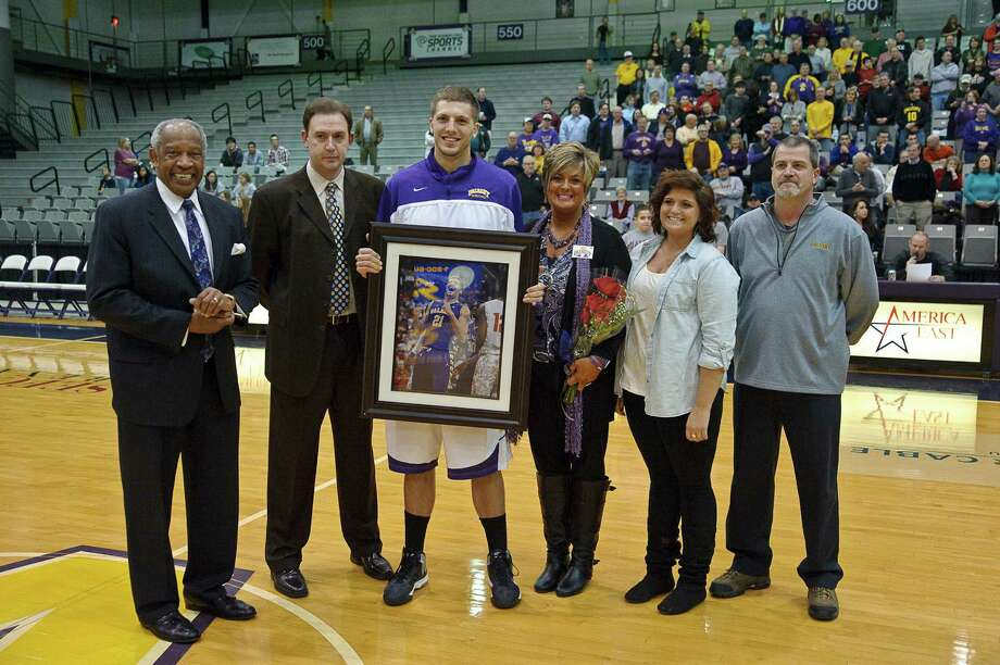 University at Albany recognizes senior Blake MetCalf Thursday Feb. 28, 2013, at SEFCU arena in Albany, N.Y.  (Eric Jenks/Special to the Times Union) Photo: Eric Jenks / All rights reserved Eric Jenks 2012 AWASOS.COM