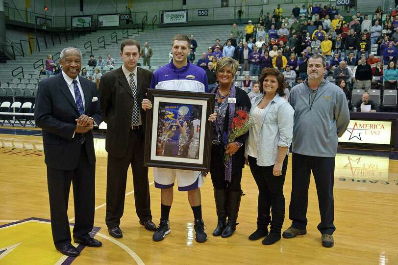 University at Albany recognizes senior Blake MetCalf Thursday Feb. 28, 2013, at SEFCU arena in Alban