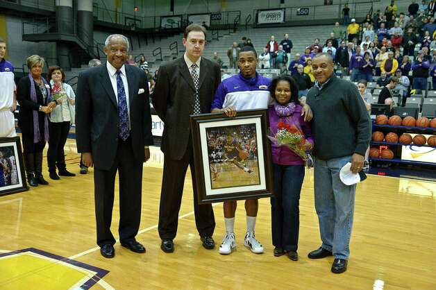 University at Albany recognizes Senior Mike Black Thursday Feb. 28, 2013, at SEFCU arena in Albany, N.Y.  (Eric Jenks/Special to the Times Union) Photo: Eric Jenks / All rights reserved Eric Jenks 2012 AWASOS.COM