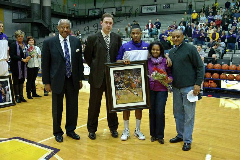 University at Albany recognizes Senior Mike Black Thursday Feb. 28, 2013, at SEFCU arena in Albany,