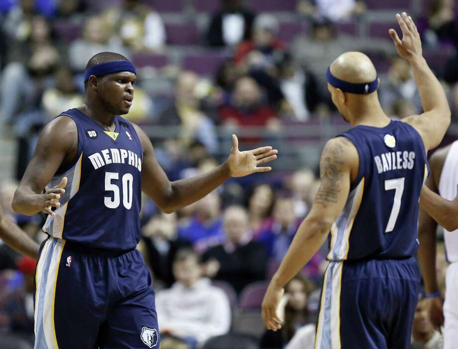 Zach Randolph (left), Jerryd Bayless and the Grizzlies won't be at home much this month. Memphis will play 17 games in 30 days, including 11 on the road. Photo: Duane Burleson / Associated Press
