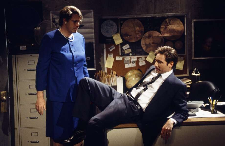 Will Ferrell as Janet Reno and David Duchovny as Mulder on SNL.