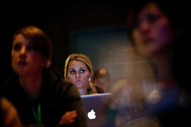 Freelance writer Jayme Lamm listens to Deloitte's Chris Heuer during Snowcial's business portion. Photo: Max Whittaker/Prime, Special To The Chronicle
