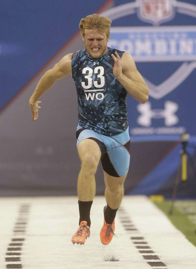 Ex-A&M receiver Ryan Swope runs a drill during the NFL Scouting Combine. His time of 4.34 seconds in the 40-yard dash tied for second best at the event. Photo: Dave Martin / Associated Press