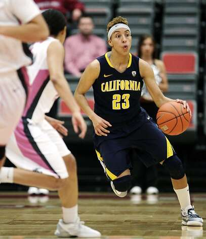 California guard Layshia Clarendon (23) pushes the ball upcourt against Washington State during the second half of an NCAA college basketball game, Thursday, Feb. 28, 2013, at Beasley Coliseum in Pullman, Wash. California won 73-60. (AP Photo/Dean Hare) Photo: Dean Hare, Associated Press