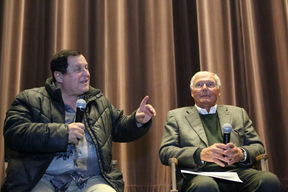 Burt Ward, who played Robin and Adam West, who played Batman, participate in a question and answer session during Emerald CIty Comicon's ''A Gotham Night in the Emerald City'' at Seattle's Cinerama. The actors attended a viewing of the 1966 theatrical Batman film on Friday, February 28, 2013 to help kickoff Comicon. (Joshua Trujillo, seattlepi.com)