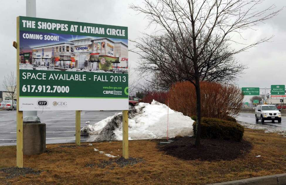 A sign advertising for The Shoppes at Latham Circle which will be built following the demolition of the Latham Circle Mall on Thursday Feb. 28, 2013 in Latham, N.Y. (Michael P. Farrell/Times Union)