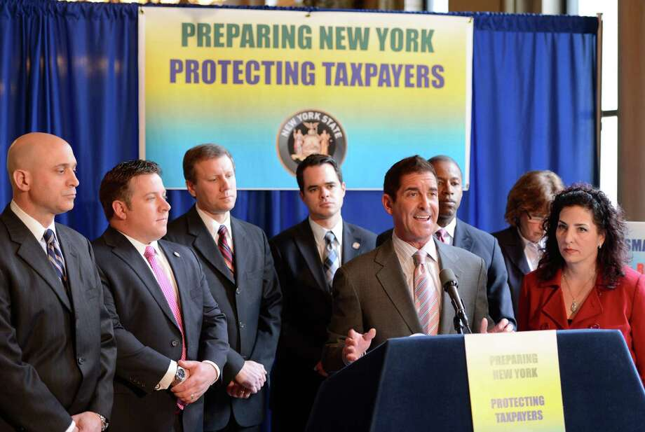 Senator Co-Leader Jeff Klein discusses legislation on the creation of a new statewide office charged with improving New York risk management and cost avoidance practices in the wake of recent disaster related spending during a press briefing Feb. 28, 2013, at the State Capitol in Albany, N.Y.   (Skip Dickstein/Times Union) Photo: SKIP DICKSTEIN / 10021365A