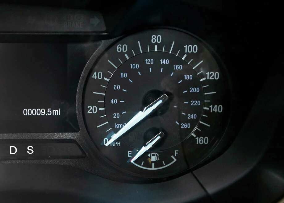 In a Feb. 11, 2013 photo, the speedometer of a 2013 Ford Fusion displayed at the Bob Maxey dealership in Detroit. Although current cars with high-horsepower engines can come close to the top speedometer speeds, most are limited by engine control computers. That's because the tires can overheat and fail at higher speeds. Photo: Carlos Osorio