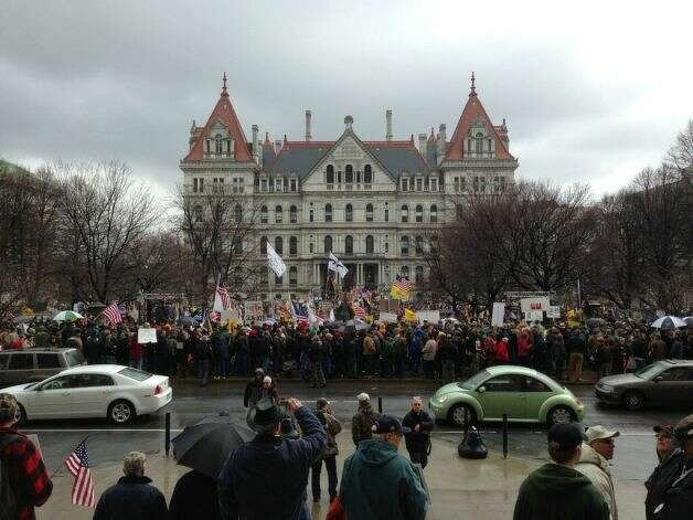 Second Amendment advocates gather at the Capitol Thursday, Feb. 28, 2013, to demonstrate against the NY SAFE Act in Albany, N.Y. (Skip Dickstein/Times Union)