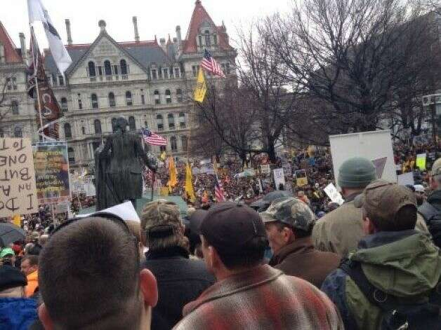 The crowd for the Second Amendment rally fills West Capitol Park in Albany on Thursday, Feb. 28, 2013. (Jimmy Vielkind/Times Union)