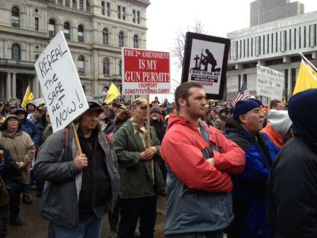 Second Amendment advocates gather at the Capitol Thursday, Feb. 28, 2013, to demonstrate against the NY SAFE Act in Albany, N.Y. (Lori Van Buren/Times Union)