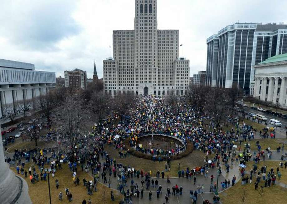Thousands of protesters descended on the west lawn of the State Capitol Feb. 28, 2013, in Albany, N.Y. (Skip Dickstein/Times Union)