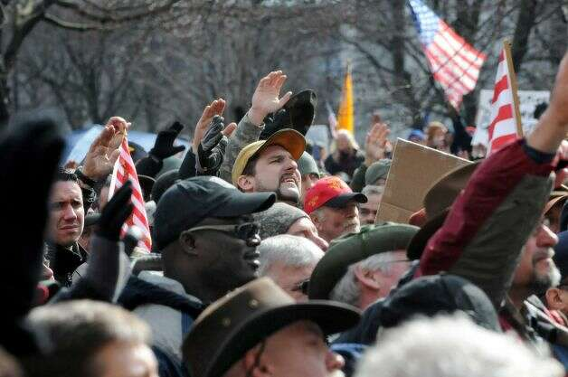 Thousands of protesters descended on the west lawn of the State Capitol Feb. 28, 2013, in Albany, N.Y.(Lori Van Buren / Times Union)
