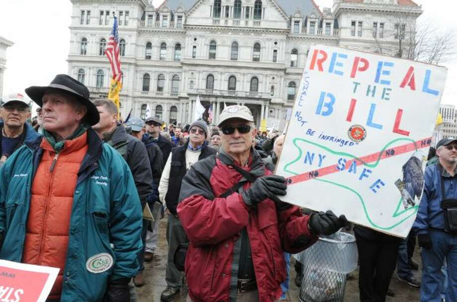 Thousands of protesters descended on the west lawn of the State Capitol Feb. 28, 2013, in Albany, N.Y. (Lori Van Buren / Times Union)