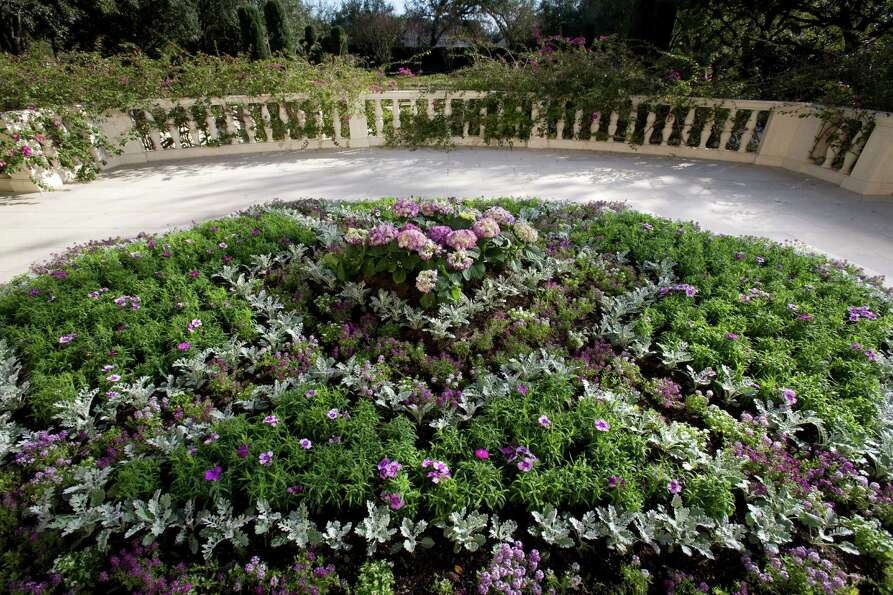 Silvery-gray and shades of purple color a tapestry garden in a featured landscape on the River Oaks