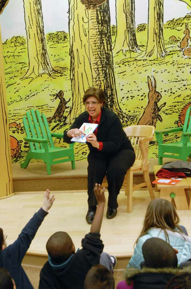 Assistant Superintendent of Schools Louise Spolowitz reads Dr. Seuss to first graders from KT Murphy Elementary School at  Barnes and Noble at the Stamford Town Center in Stamford, Conn. on Friday March 1, 2013 celebrating  Dr. Seuss's Birthday. Photo: Dru Nadler / Stamford Advocate Freelance