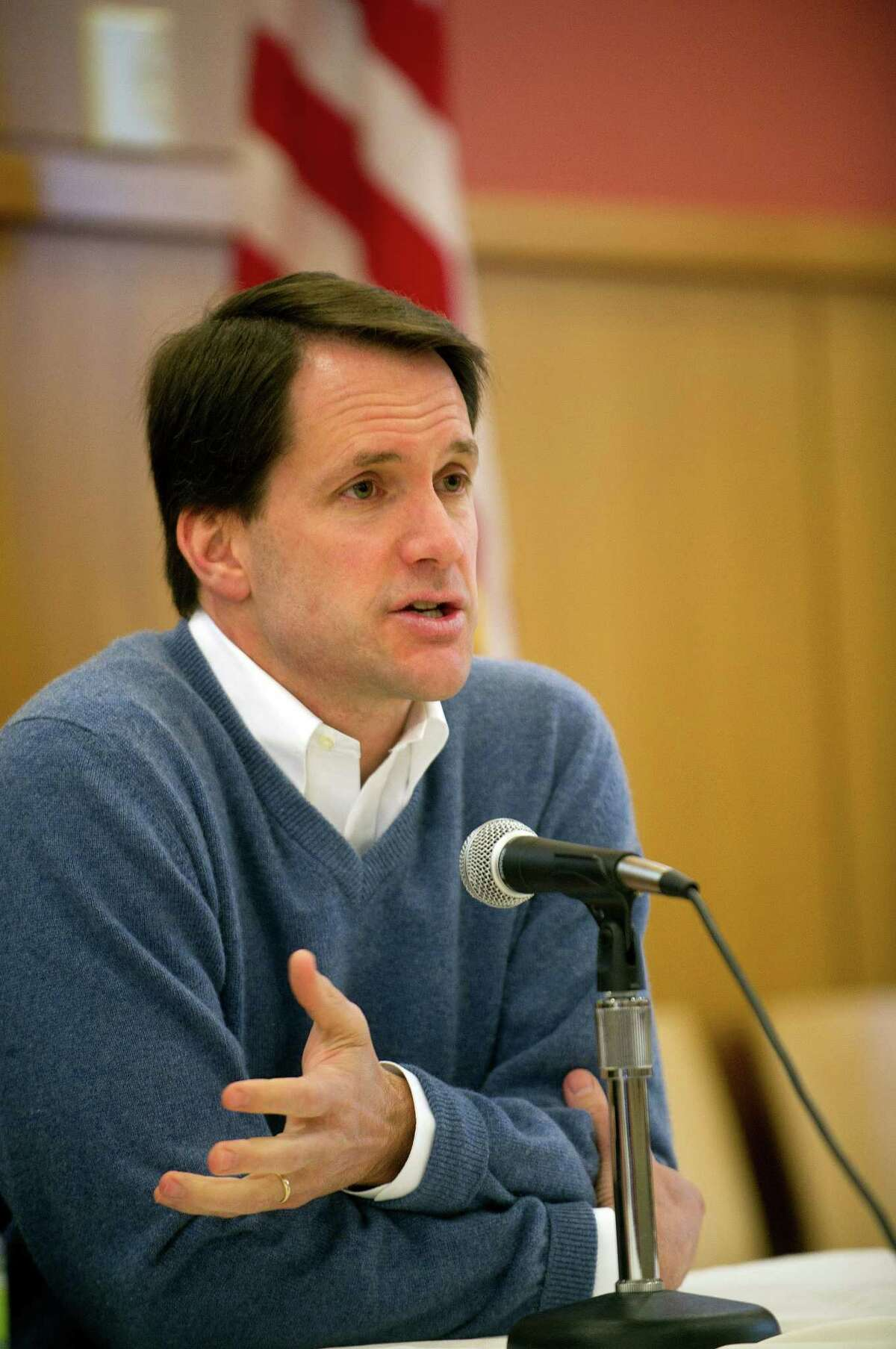 U.S. Representative Jim Himes speaks at the Darien Library during a discussion about gun violence prevention on Saturday, February 23, 2013.