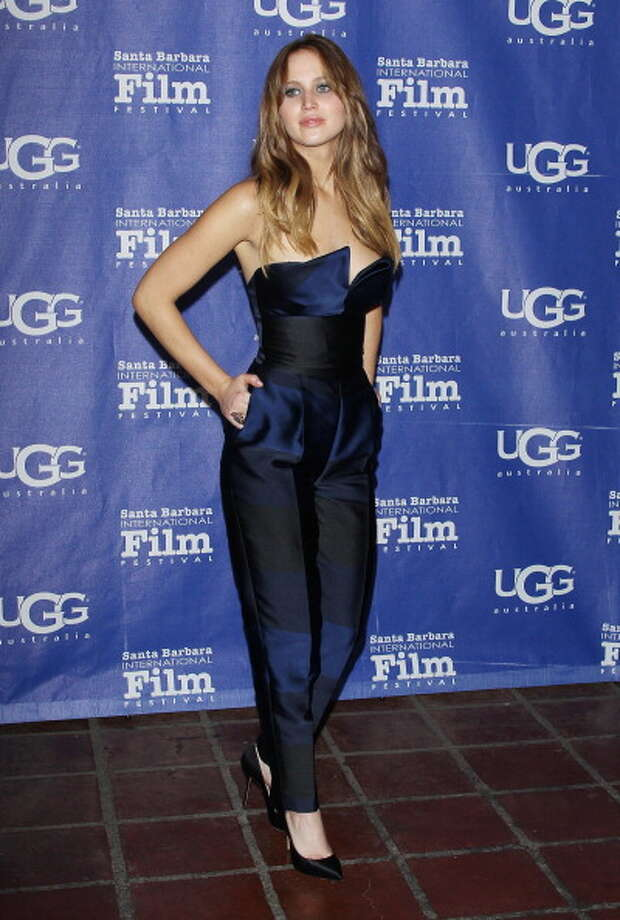 Jennifer Lawrence, in Stella McCartney, arrives at 28th Santa Barbara Film Festival - honoring her with the Outstanding Performer of The Year Award held at Arlington Theatre on February 2, 2013 in Santa Barbara, California. Photo: Michael Tran, FilmMagic / 2013 Michael Tran