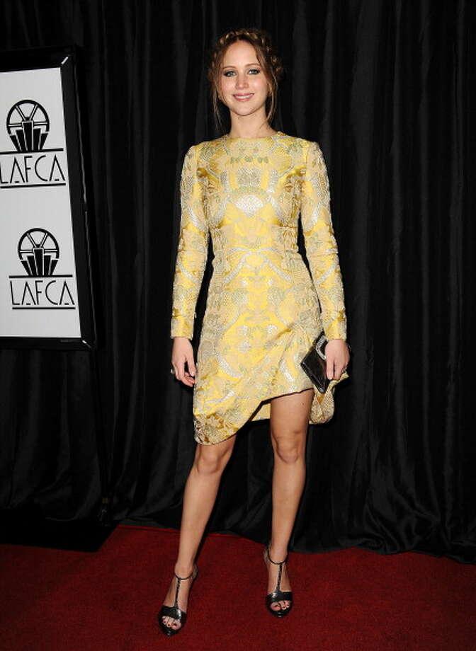 Jennifer Lawrence in Valentino attends the 38th annual Los Angeles Film Critics Association Awards at InterContinental Hotel on January 12, 2013 in Century City, California. Photo: Jason LaVeris, FilmMagic / 2013 Jason LaVeris