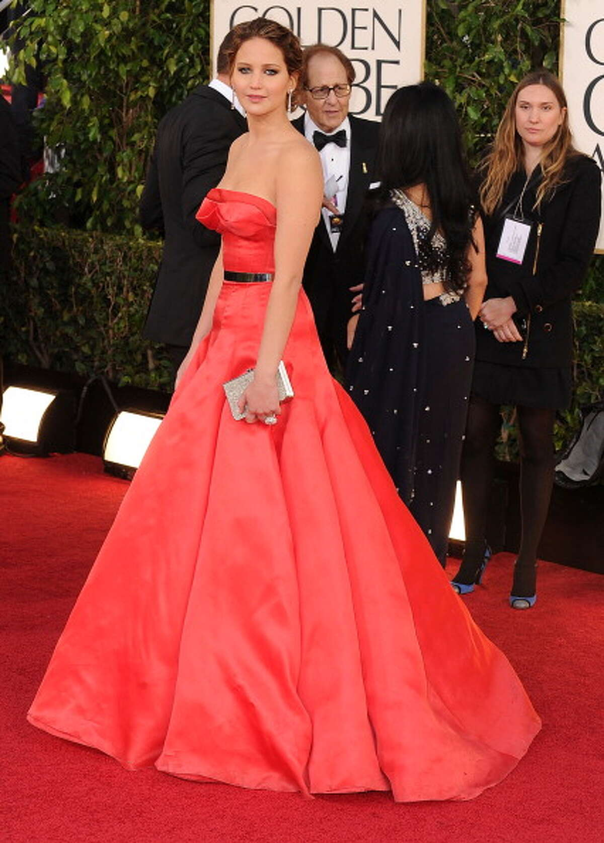 Jennifer Lawrence arrives at the 70th Annual Golden Globe Awards in Christian Dior Couture at The Beverly Hilton Hotel on January 13, 2013 in Beverly Hills, California.