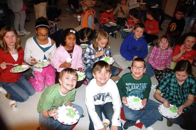 Doane Stuart Lower School students eat green eggs and ham on Friday, March 1, 2013, in Rensselaer. (Doane Stuart photos)