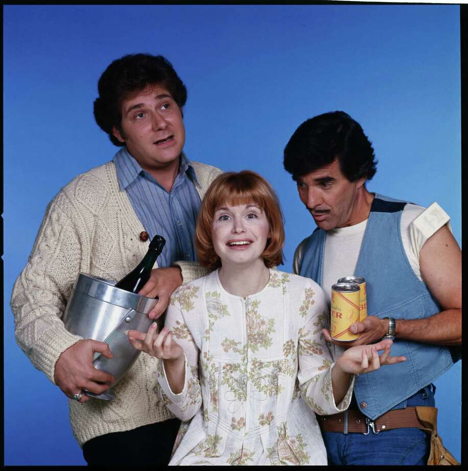 """One Day at a Time"" cast members, from left to right: Richard Masur as David Kane,  Bonnie Franklin as Ann Romano Royer  and Pat Harrington, Jr. as building superintendent Dwayne Schneider. Photo: CBS Photo Archive, Getty / 1977 CBS Photo Archive"