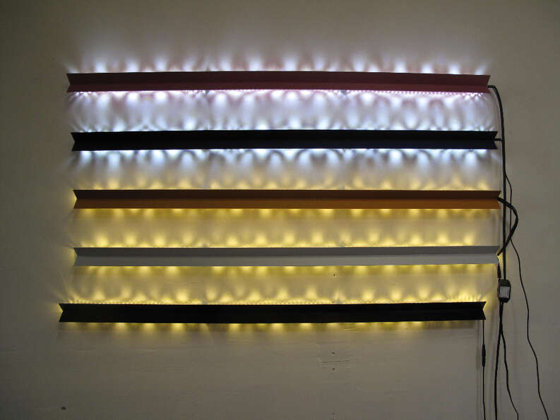 The Residency, Feb. 26, 2013; a series of LED sticks can be wired together or hung in any order