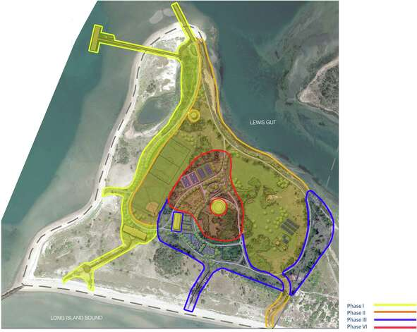Phase - I The construction of Phase I in Pleasure Beach Park will establish a new, easily accessible connection from Pleasure Beach pier to the beaches along Long Island Sound and Bridgeport Harbor. The plan will offer two (2) access points to the beach as well as a fully functional restroom facility and concession area.  Park Buildings:  In Phase I all park buildings (Harbor Hut, Pavilion, former Ball Room, and the Playhouse) shall be stabilized with the intent to preserve the existing structures from further deterioration. The stabilization process will prepare them for future revitalization. In addition to this initial building stabilization, the Harbor Hut is to be completely renovated and updated with fully operating restrooms and staff office. The Pavilion will undergo complete exterior renovation, including roof, façade, and concrete floor refurbishment. Kitchen and locker areas are expected to be updated in Phase II.  Park Grounds: The existing road is to be removed and a 10-foot wide pathway will serve as the connection between the Harbor Hut and the Pavilion. All water utility systems, including restrooms, fire hydrants, and two (2) leach fields are to be inspected and prepared for future use. The site shall be cleaned of all debris, and species protection and mitigation work shall commence. Park Amenities: The park will offer visitors access to the beach and allow fishing on the newly repaired, previously burned Pleasure Beach bridge. A simulated wood-rail concrete fence will be installed along the pathways in order to guide park users from the fishing pier to the beach access points. This naturalized style fence will serve to protect sensitive habitat areas. Photo: Contributed Rendering